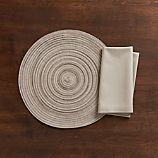 Stria Neutral Placemat and Fete Dove Cotton Napkin