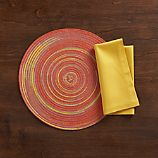 Stria Orange Placemat and Fete Mustard Cotton Napkin