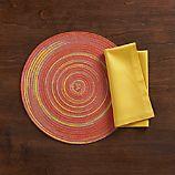 Stria Orange Placemat and Fete Mustard Cotton Napkin
