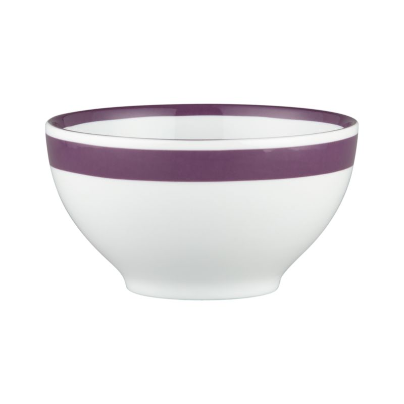 A stripe of color for everyday dining. Clean, coupe shapes are glazed white and striped bright with a wide color band outside, narrow band inside.<br /><br /><NEWTAG/><ul><li>Porcelain</li><li>Dishwasher-, microwave- and oven-safe to 350 degrees</li></ul>