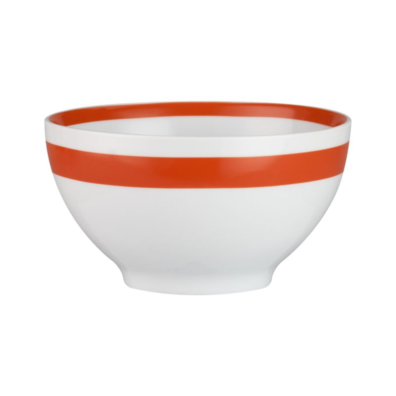 A stripe of color for everyday dining. Clean, coupe shapes are glazed white and striped bright with a wide color band outside, narrow band inside.<br /><br /><NEWTAG/><ul><li>Porcelain</li><li>Dishwasher-, microwave- and oven-safe to 350 degrees</li><li>Made in China</li></ul>