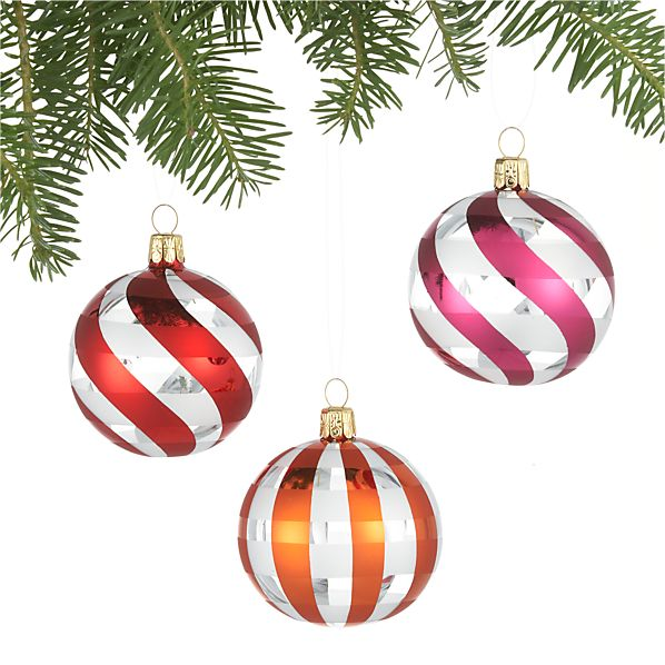 Set of 3 Stripe Swirl Cut-Out Ball Ornaments