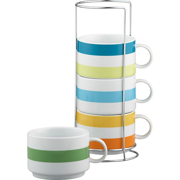 Jumbo Stripe Stacking Mugs with Metal Rack