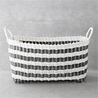 Grey-White Stripe Laundry Hamper.