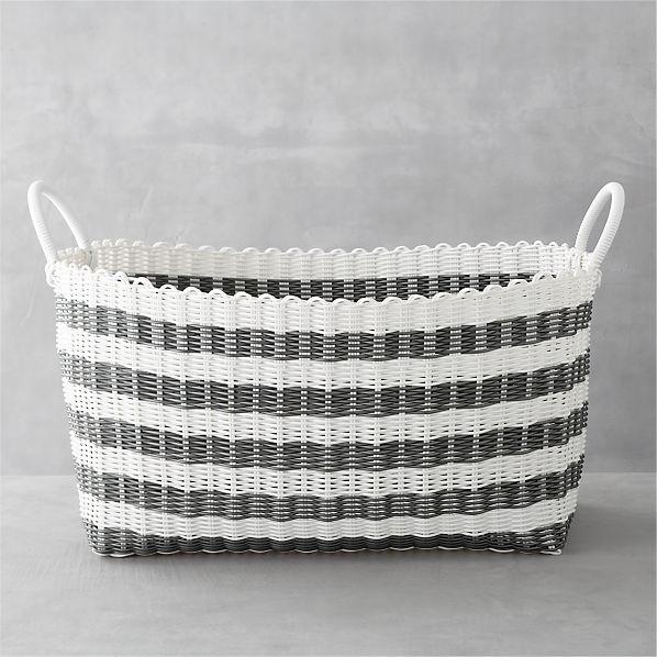 Grey White Stripe Laundry Hamper Crate And Barrel
