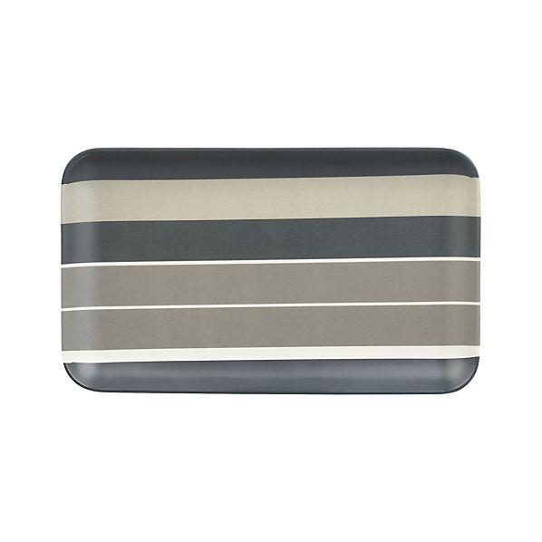 "Broad Stripe 8.5""x5"" Melamine Plate"