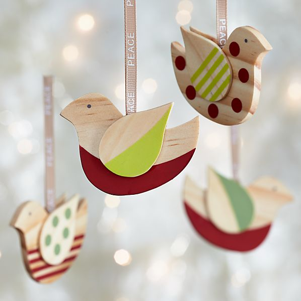 Set of 4 Stripe and Polka Dot Wood Bird Ornaments
