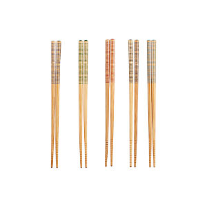Striped Bamboo Chopsticks Set of Five Pairs