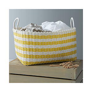 Yellow-White Stripe Laundry Hamper