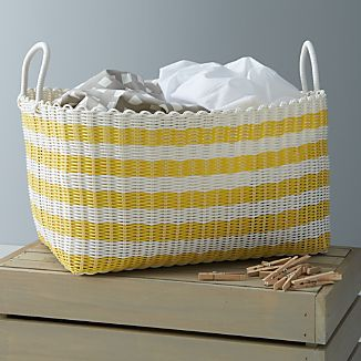 Yellow-White Stripe Laundry Hamper