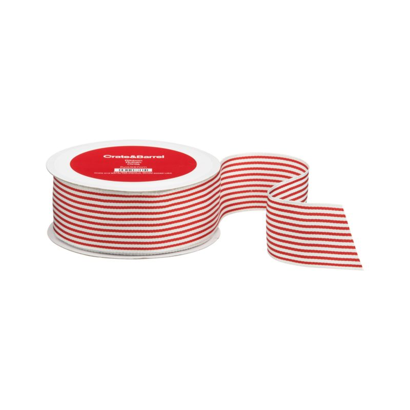 Charming corded ribbon stripes up in red and white. Wired edges provide optimal control.<br /><br /><NEWTAG/><ul><li>Polyester grosgrain</li><li>Wired edges</li><li>Made in Taiwan</li></ul><br />