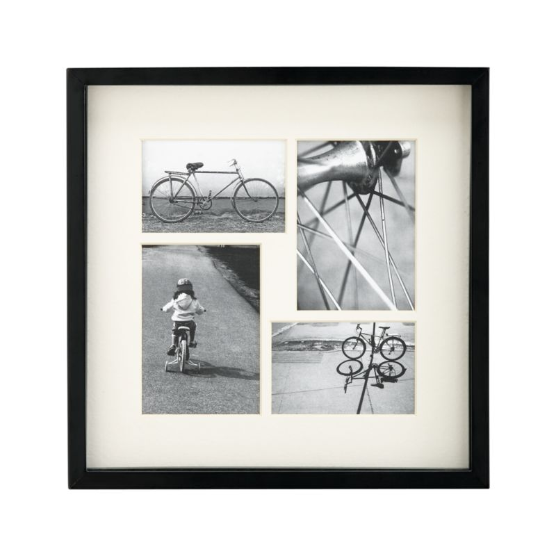 Showcase photos shadow-box style or up against the glass in this classic black frame. Substantial wood frame is painted ebony, with a beveled ivory mat for elegant display. Hang horizontally or vertically, or display on mantel, desktop or table.<br /><br /><NEWTAG/><ul><li>Wood and engineered wood frame with ebony finish</li><li>Beveled ivory mat board</li><li>Adjustable spacer allows photos to be showcased flush to glass or shadow-box style</li><li>Mounting hardware included</li><li>Made in China</li></ul>