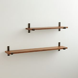 Styles Wood Shelf with Bronze Brackets