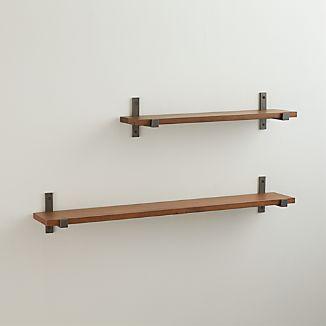 Styles Wood Shelf with Iron Brackets