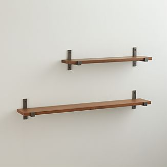 Styles Wood Shelf with Iron Brackets