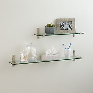 Styles Glass Shelf with Brushed Silver Brackets