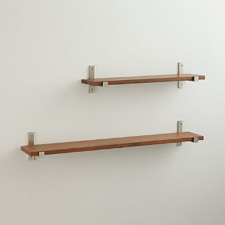 Styles Wood Shelf with Brushed Silver Brackets