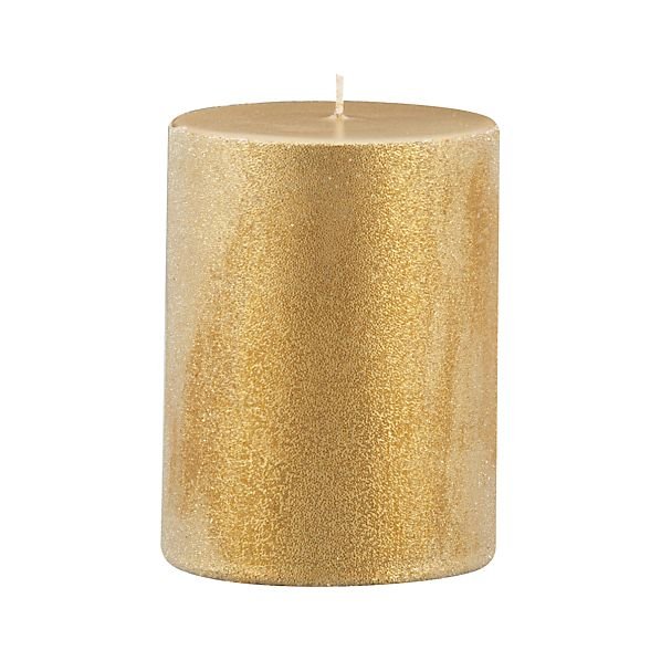 "Sugar Frost Gold 3""x4"" Pillar Candle"
