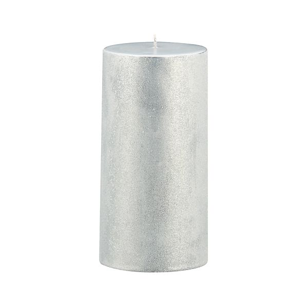 "Sugar Frost Silver 3""x6"" Pillar Candle"