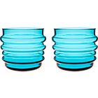 "Set of two turquoise glasses. 7 oz.; 3.5""dia.x3""H"