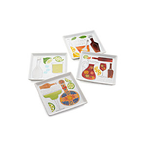 Set of 4 Summer Cocktail Recipe Plates