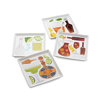 Summer Cocktail Recipe Plates Set of Four