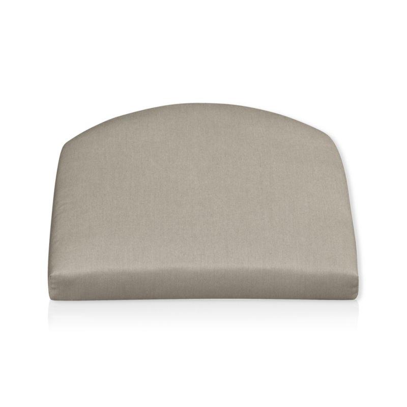 Arm chair cushion is fade- and mildew-resistant Sunbrella acrylic in neutral stone.<br /><br /><NEWTAG/><ul><li>100% solution-dyed acrylic with poly wrapped foam fill</li><li>Spot clean</li><li>Made in USA</li></ul>
