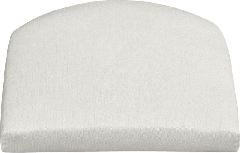 Arm chair cushion is fade- and mildew-resistant Sunbrella acrylic in warm white sand.<br /><br /><NEWTAG/><ul><li>100% solution-dyed acrylic with poly wrapped foam fill</li><li>Spot clean</li><li>Made in USA</li></ul>