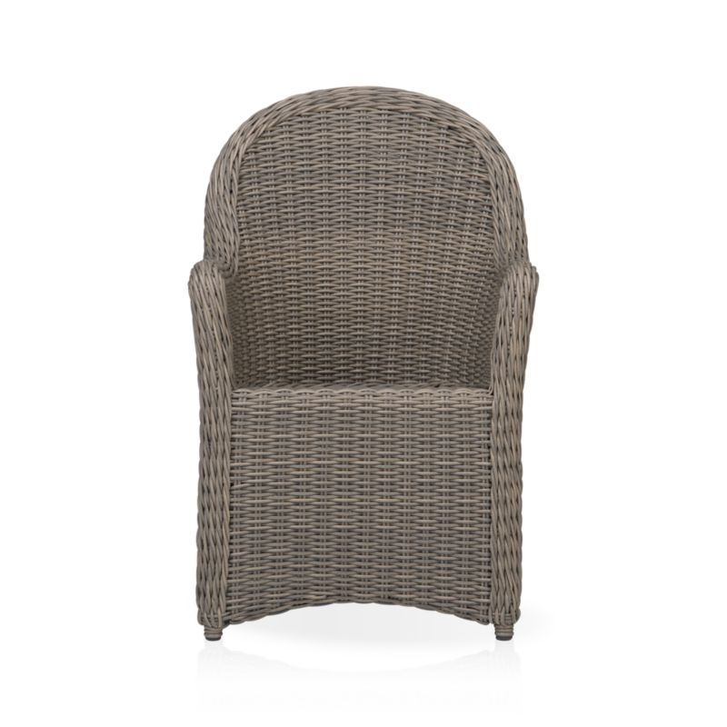 Romantic wicker porch style in a 100% recyclable weave that can take any weather, rain or shine. Classic high-back seating features curved arms that flow into a full skirt. Crafted with a rustproof powdercoated aluminum frame handwoven in durable UV- and weather-resistant resin finished a tonal kubu color that captures the true nature and patina of wicker. Summerlin lounge collection also available.<br /><ul><li>PE resin wicker</li><li>Aluminum frame</li><li>Powdercoat finish</li><li>Made in Indonesia</li></ul><NEWTAG/>