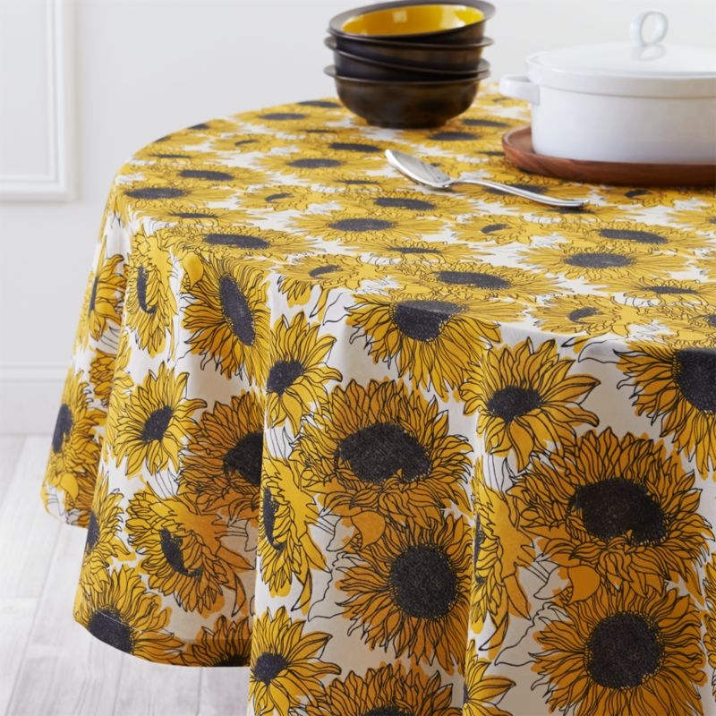 Sunflower 90 Quot Round Tablecloth Crate And Barrel