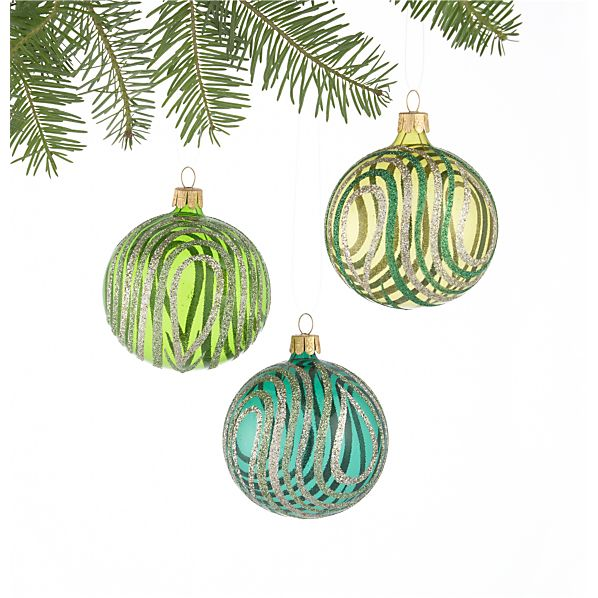 Set of 3 Swirl Glitter and Tonal Green Ball Ornaments