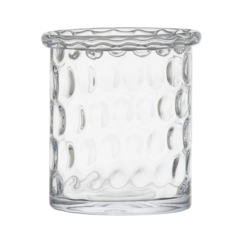 "Textured dimpled design makes an optical show of flickering candlelight. Thick rolled rim is cut and polished by hand for a smooth edge.<br /><br /><NEWTAG/><ul><li>Handmade glass</li><li>Fire-polished rim</li><li>Accommodates a 3""-dia. pillar candle, sold separately</li><li>Wipe clean with damp cloth</li><li>Made in Poland</li></ul>"