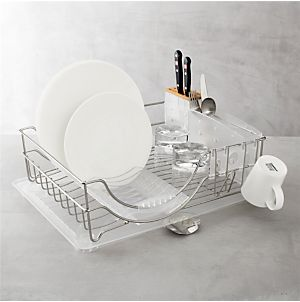 simplehuman® Steel Frame Grey Dish Rack in Utility | Crate and Barrel