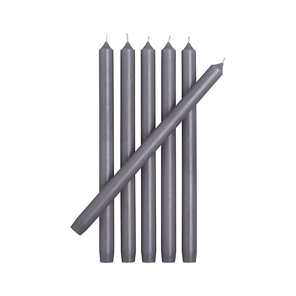 Set of 6 Grey Taper Candles