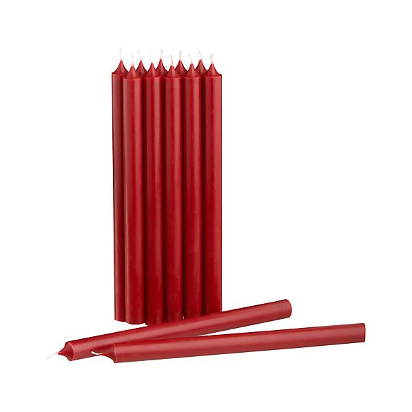 Cranberry Taper Candles Set of 12