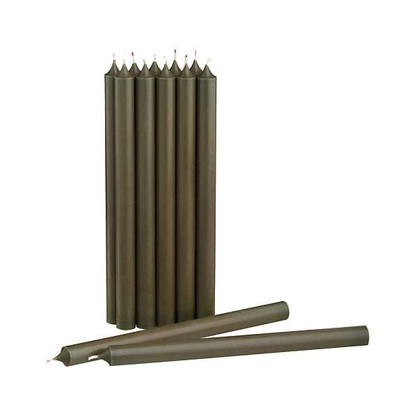 Green Taper Candles Set of 12