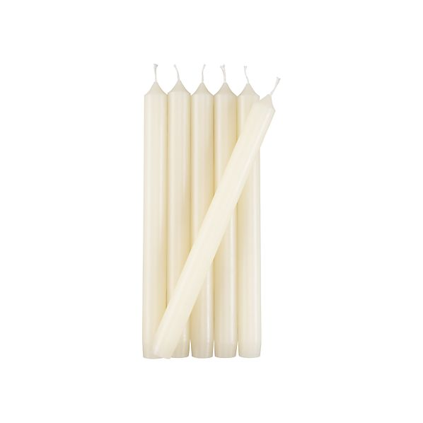Set of 6 Taper Ivory Candles