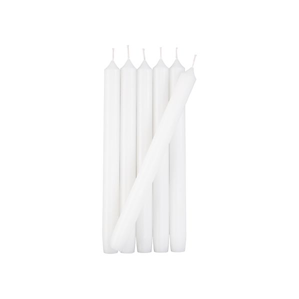 Set of 6 Taper White Candles