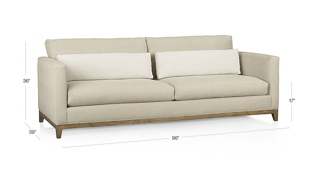 Taraval 2 Seat Sofa With Oak Base Putty Crate And Barrel
