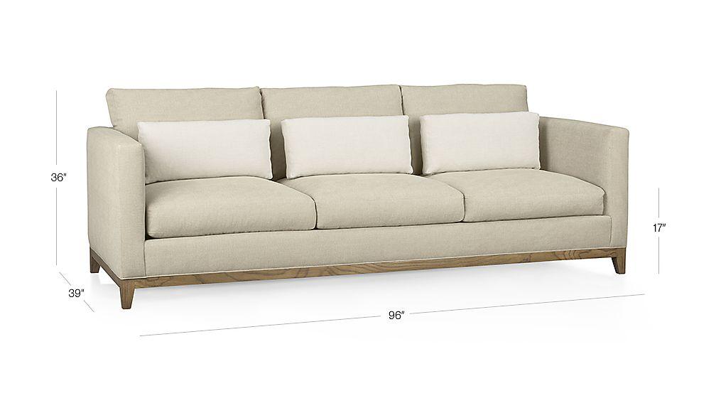 Taraval 3-Seat Sofa with Oak Base Dimensions