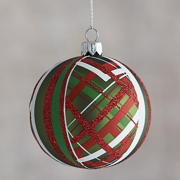 Green Tartan Glitter Ball Ornament
