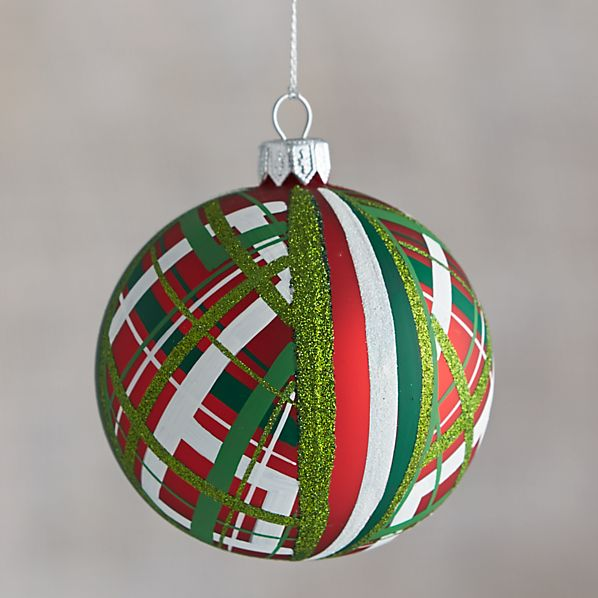 Red Tartan Glitter Ball Ornament