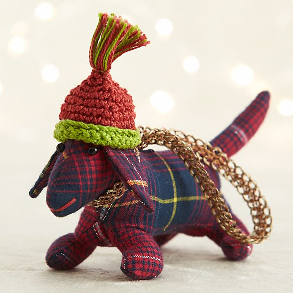 Blue Tartan Plaid Dog Ornament