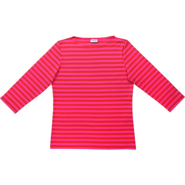 Marimekko Tasaraita Ilma Red and Pink 3/4-Sleeve Small Tee