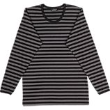 Marimekko Tasaraita Pitkhiha Black and Grey Unisex X-Small Tee