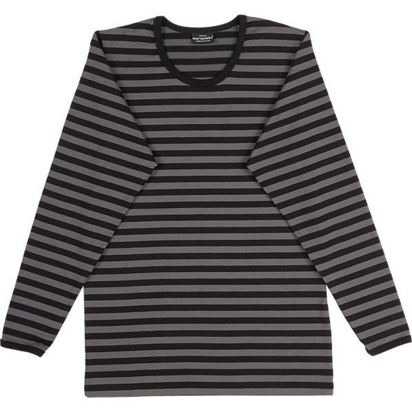 Marimekko Tasaraita Pitkähiha Black and Grey Unisex Small Tee