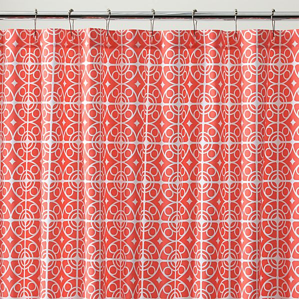 White And Coral Curtains Html