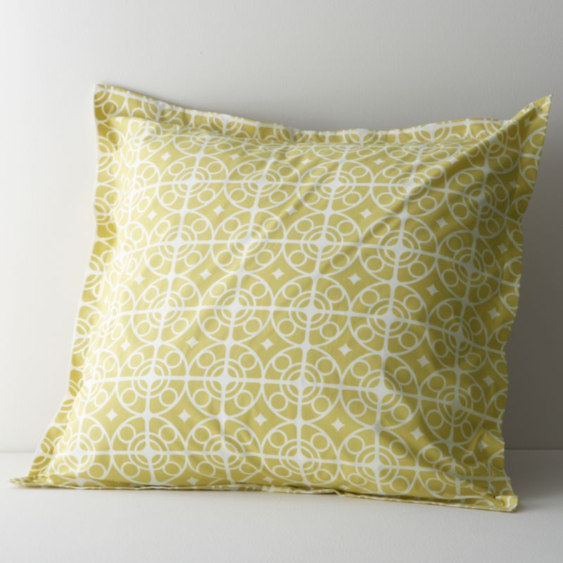White medallions trellis on citron in soothing geometrics inspired by Moroccan tiles. Reversible sham has generous overlapping back closure. Bed pillows also available.<br /><br /><NEWTAG/><ul><li>100% cotton percale</li><li>200-thread-count</li><li>Machine wash cold, tumble dry low</li><li>Made in Portugal</li></ul>