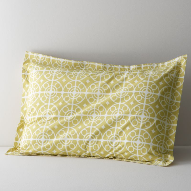 White medallions trellis on citron in soothing geometrics inspired by Moroccan tiles. Reversible sham has generous overlapping back closure. Bed pillows also available.<br /><br /><strong>Limited-time offer ends February 20, 2013.</strong><br /><br /><NEWTAG/><ul><li>100% cotton percale</li><li>200-thread-count</li><li>Machine wash cold, tumble dry low</li><li>Made in Portugal</li></ul>