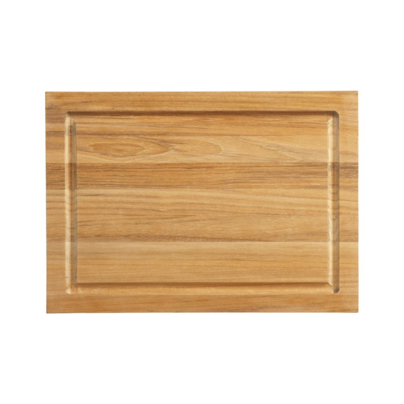 Fsc Teak Small Rectangular Cutting Board With Well Crate